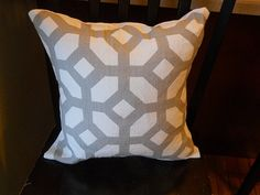 Designer Courtyard oyster geometric fabric throw pillow cover gray taupe white gate