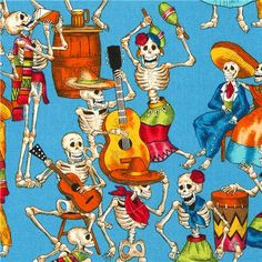 blue Alexander Henry fabric with skeletons celebrating
