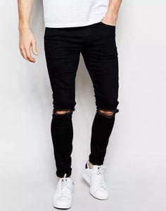 calça jeans premium masculina rasgada skinny preta lycra