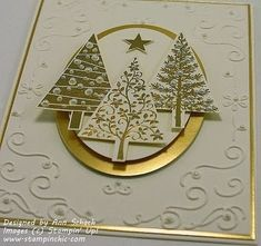 Stampin' Up! ... handmade Christmas card from The Stampin' Schach: Festival of Trees for The Paper Players ... white and metallic gold with pearls ... elegant look .. gold embossed trees ... luv the popped laters for added dimenions ... by savannah by savannah