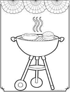 Grilling 4th Of July Coloring Sheet American Flag Coloring Page