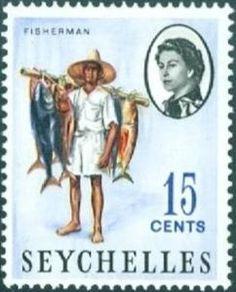 Sello: Fisherman (Seychelles) (Queen Elizabeth II) Mi:SC 197,Sn:SC 200