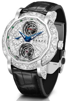 GRAFF. MasterGraff Double Tourbillon GMT 48mm with a double tourbillon GMT set with over 30 carats of diamonds limited in 10 pieces in both rose and white gold. POA