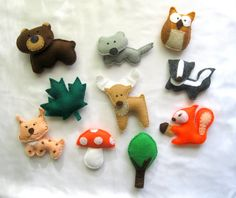 Felt Forest Animals Magnets Stuffed