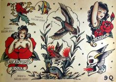 sailor jerry classic flash pin ups love em Flash Art Tattoos, Sailor Jerry Flash, Weird Tattoos, Tattoos For Guys, American Style Tattoo, Tradional Tattoo, Rockabilly Tattoos, Americana Tattoo, Sailor Jerry Tattoos