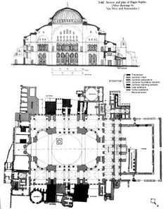Section and plan of Hagia Sophia. Byzantine Architecture, Temple Architecture, Classical Architecture, Historical Architecture, Ancient Architecture, Sainte Sophie, Plan Sketch, Byzantine Art, Hagia Sophia