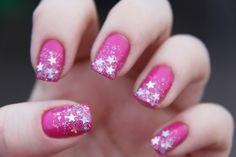 Hot pink star glitter manicure nail art design