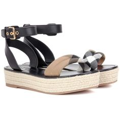 Burberry Parkeston Leather Espadrille Sandals (€510) ❤ liked on Polyvore featuring shoes, sandals, black, espadrilles, genuine leather shoes, plaid shoes, espadrilles shoes, burberry espadrilles and black espadrilles