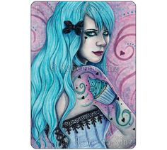 Cupcake ACEO PRINT Sweet Things Series Bubblegoth Goth Tattoos Artist Trading Cards ATC Fantasy Art by ElvenstarArt on Etsy https://www.etsy.com/ca/listing/197792985/cupcake-aceo-print-sweet-things-series