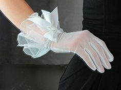 Gauze Gloves White  with bows & Embroidered Fabric by EastWorkshop, $7.98