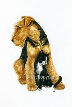 Original watercolour painting of Airedale and Cat