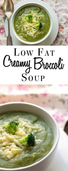 This recipe for No Cream Creamy Broccoli Soup is a low fat soup that has all the flavor and indulgence of a creamed soup with none of the guilt. via Kitchen Cream Soup Recipes, Broccoli Soup Recipes, Cream Of Broccoli Soup, Healthy Soup Recipes, Ayurveda, Low Fat Soups, Best Diet Foods, Pureed Soup, Low Fat Yogurt