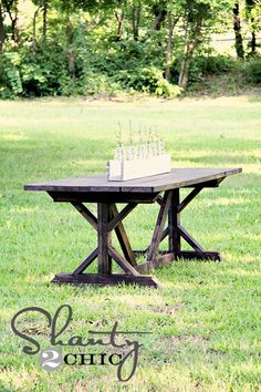 Fancy X Farmhouse Table DIY $65