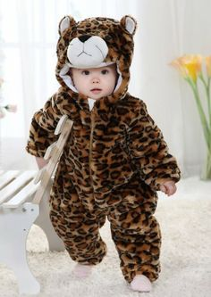 #Cute Leopard Winter Baby Onesies 0-24 Months Thicken Warm Soft Baby Outdoor Costume Winter Suit (Tag 80:Suitable for 6-12 months Height 66-73cm)
