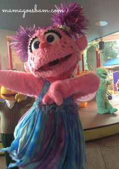 up close with abby caddaby at Sesame Place