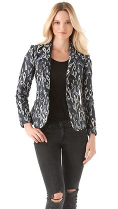 Need a print to add to your black wardrobe?  This is the one! Rag & Bone Sliver Ikat Blazer
