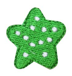 ID #8234F Lot of 3 Polka Dot Green Star Shape Embroidered Iron On Applique Patch