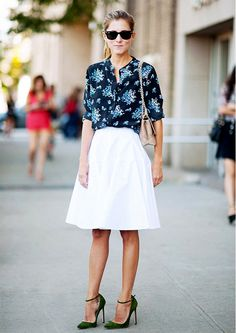 Floral printed blouse + white skirt + green heels