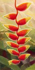 Heliconia Paintings - Heliconia Glow Tropical Floral  by Karen Whitworth