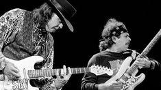 Carlos Santana and Stevie Ray Vaughn jamming in Costa Mesa, California, 1988