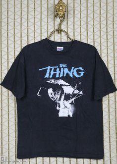 4979706b The Thing vintage and rare shirt, John Carpenter, horror movie, black tee  shirt