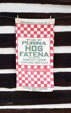 Vintage Cotton Sack Purina Hog Fatena Vintage Farm by zincfineart