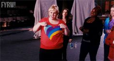 Aubree: Fat Amy you will solo.  Fat Amy: Yayy! *makes heart around shirt  lol <3