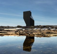 This small twisted tower is one of the six artists' constructed on Fogo Island.