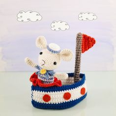 Amigurumi crochet doll - Saltee the crochet sailor mouse and her little sail boat PATTERN ONLY (English)