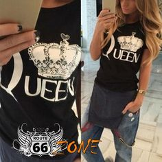 """The Queen"" Women's Tee Womens Motorcycle Fashion, Route 66, Jewerly, Tee Shirts, Queen, Tank Tops, Cotton, Clothes, Shoes"