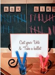 tally graph with colored chalk. gender reveal shower