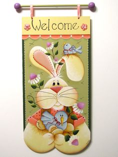 Bunny Welcome Banner, Blue Birds, Daisies, Handpainted Wood Sign, Home Decor, Wall Art