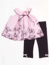Infant Baby Girls Pink Bubble and Black Leggings