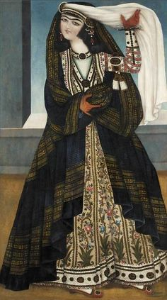A young woman with a white veil, attributed to Muhammad Shah