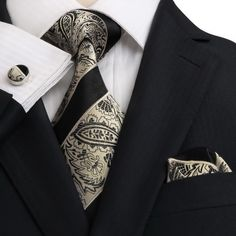 Men's Black And Beige Paisley 100% Silk Neck Tie Set $29.99