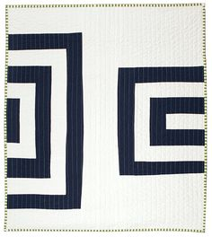 Graphic Modern Baby Quilt  Midnight & White by bperrino on Etsy