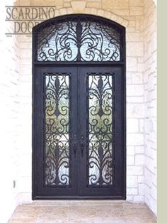 Custom Flat Top French Wrought Iron Doors with Transom Window European Collection French Doors with Transom & Custom Double Elliptical Top Wrought Iron English Abby Doors ...