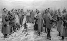 German and British troops celebrating Christmas together during a temporary cessation of WWI hostilities known as the Christmas Truce. Mansell—The LIFE Picture Collection/Getty Images