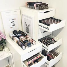 pinterest: @lilyosm | goals makeup storage room decor nars too faced tarte mac benefit brands