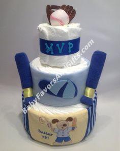 Linda torta de pañales con una idea de beisbol, perfecta para el primer cumpleaños de tu bebito #Caracas #Venezuela