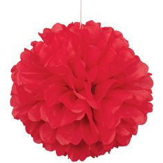 Party Souq - Red Puff Ball Tissue Decoration|1 pc, $ 8.37