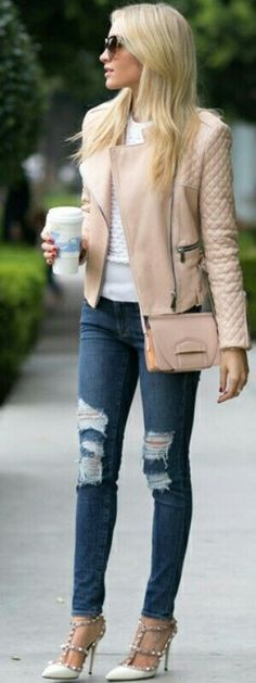 Blush Jacket by Barbara Bui. Ripped jeans are everywhere at the moment. Love the pastel jacket and white t-shirt