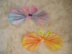 We made these as a VBS craft a few years ago.  They were a HIT with the kids who came back over and again to make multiple butterflies. Coffee filters, water/food coloring, a close pin for the body, pipe cleaner for the antennae and draw the eyes on with a marker.  Super easy, but very messy, and the kids will love them!