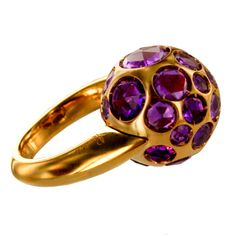 1stdibs | Pomellato Gold and Amethyst Ball Ring; Italy,c.1990s