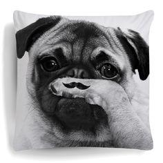 Moustache Cushion Pug Pillow 80s Movember Plush Funny Mustache Home Decor Animal Dog Sofa Cut Fashion Puppy White Womens Mens S-XXL Shirt by Spicetag on Etsy https://www.etsy.com/listing/219679837/moustache-cushion-pug-pillow-80s