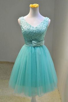 Beautiful 2016 Aqua turquoise mint short knee length junior teen girl V neck straps cute ball gown tulle summer lace vintage plus size woman formal evening dress,prom dress,party dress,cocktail ,homecoming dress,bridesmaid dress wedding under 100