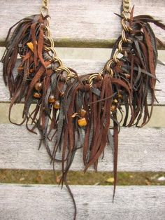 Leather Necklace Stone Bead Necklace Awesome by Vacationhouse, $98.00