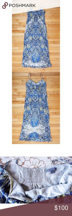 """Vince Paisley Maxi Slip Dress sz M Vince Blue Paisley Maxi Dress size Medium, EUC--no rips, stains, or holes; I was unable to find any pilling or pulls, no material tag, feels like silk, georgette fabric with pretty blue and light green paisley pattern layered over slip lining, adjustable spaghetti straps, sweetheart neckline, bias cut, forgiving and flattering silhouette, smocked panel on back for additional stretch at bust, 17-18"""" pit to pit, 50"""" from highest point of neckline to hem Vince…"""