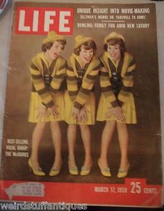 vintage LIFE magazine The McGuires March 1958 vocal group movie bowling