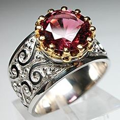 WESTON JEWELRY CUSTOM RED SPINEL RING SOLID PLATINUM & 22K GOLD